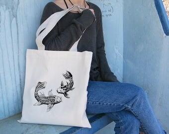 Shoulder Tote Bag, Koi Fish Tote Bag, Cotton Tote Bag, Tote Bag Canvas, Tote Bag For Woman, Bags And Purses, Fish Print Bag, Gift For Her