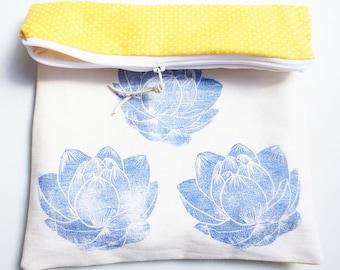 Pocket flaps in printed cotton & linocut blue lotus pattern