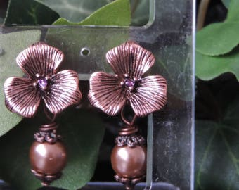 "Floral ""Light Copper"" - Pink earrings"