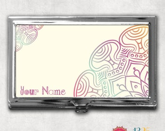 Mandala Business Card Case, business card holder, card case, card holder, personalized gift, credit card holder, personalized case
