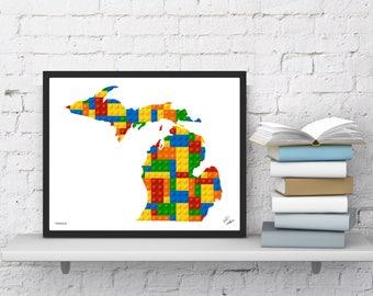 Michigan Lego State Map   Kid Bedroom Wall Art