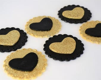 Valentines day cupcake, heart cupcake, fondant cupcake topper, gold heart, black and gold,  glitter heart topper, glitter heart cake topper,