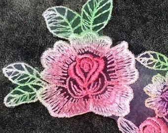 Pastel Floral Pattern Sew On Applique