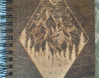 Moon and Mountain Etched Wooden Notebook