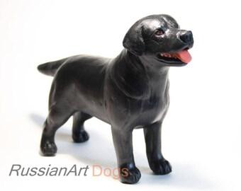 Black Labrador statue, figurine handmade of ceramic, statuette