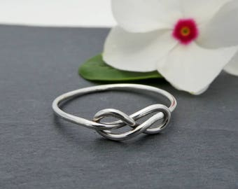 Thin Sterling Silver Infinity Knot Ring - Petite Silver Infinity Wire Knot Ring