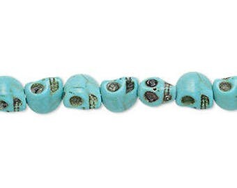 Blue Skull Beads, Howlite, Goth, Steampunk, Apocalyptic, primitive, small, 8x6mm, 26 beads, D1033