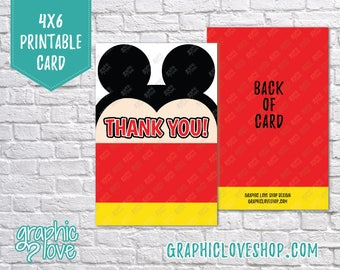 Printable 4x6 Mickey Mouse Thank You Card - Folded or Postcard | Digital JPG Files, Instant Download, File NOT Editable, Ready to Print