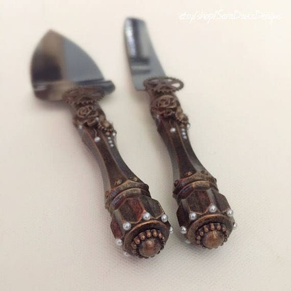 gothic wedding cake knife steampunk cake knife and server set steampunk wedding 14878