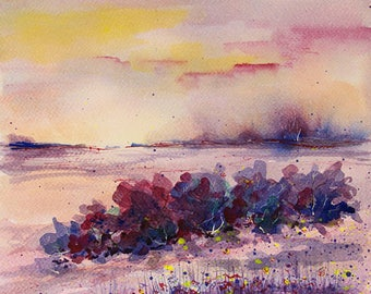 Purple Sunset painting Inspirational Landscape painting Original watercolor painting Original art Nature watercolor painting art Artwork