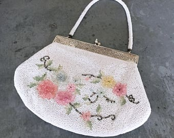 Hand beaded purse, vintage bridal purse, vintage wedding purse, beaded bag, vintage beaded purse, vintage bridal, floral, white bag, japan