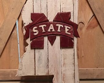 Mississippi state sign with Mississippi State University logo