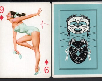 Alberto Vargas 1950's Vargas Girl Playing Card Swap Card 9 OF DIAMONDS Near Mint / Mint