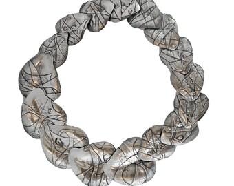 Large Sterling Silver Hand Wrought Leaf Link Necklace