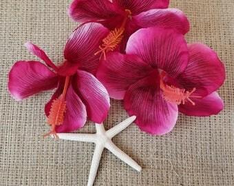 Dark pink hibiscus, rose red hibiscus, tropical flowers, silk flowers, fabric flowers, set of three loose flowers