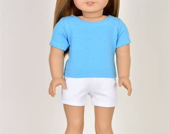 Basic Top short sleeve  Blue 18 inch doll clothes