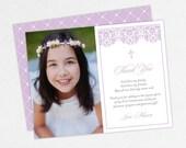 Purple Communion Thank You Cards, Damask Communion Thank You Cards, Communion Photo Thank You Cards, Printable Communion Thank Yous, Lace