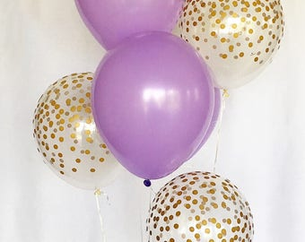 Purple/Lavender and Clear Gold Confetti Latex Balloons~First Birthday~Wedding~Bridal Shower~Lavender Balloon~Gold Confetti Look Balloon