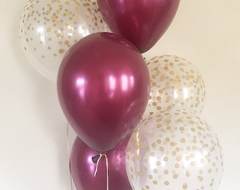 Burgundy and Clear Gold Confetti Latex Balloons~First Birthday~Wedding~Bridal Shower~Birthday~Wine/Maroon Balloon~Gold Confetti Look Balloon