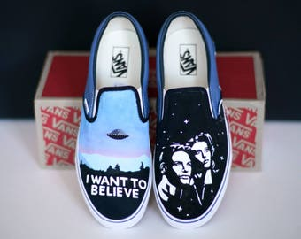 Custom Hand-Painted Vans Shoes: The X Files