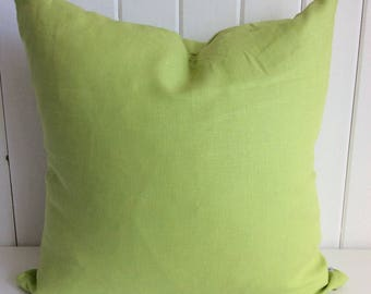 Bright Lime Green Linen Cushion Cover