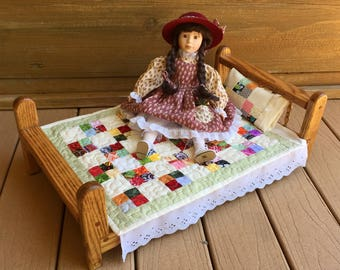 Patchwork doll quilt, pillow, pillow case, eyelet sheet