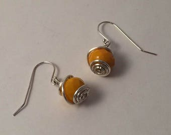 Orange Wire Wrapped Beaded Earrings