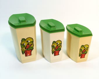 Vintage Kitchen Canister Three Green Ivory Flour Sugar Coffee Tea Containers 3 Piece Set