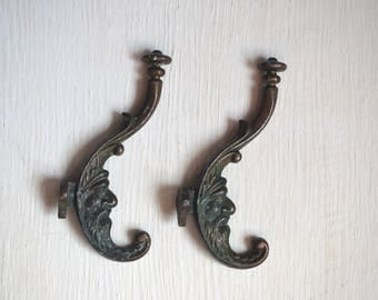 Vintage Coat hooks Set of 2 Metal wall hooks Soviet era Curly hooks