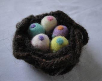 needle felt eggs, knitted felt nest, Easter decoration, nature gift, polka-dot eggs, five eggs in a nest, hostess gift, felt nest ornament