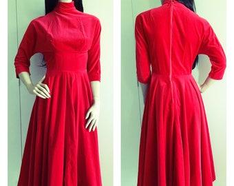 Vintage Red Velvet Dress - Winter Fashion - 80s - 50s - XXS Petite - FREE SHIPPING