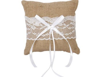 Burlap Ring Pillow Rustic Wedding Ring Bearer Pillow White lace Ring Cushion Woodland Rustic Cottage Style Weddings