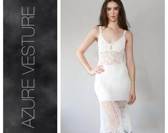 70s Crochet Dress, 1970s Boho Hippie Summer Dress, Festival Dress, Beach Dress, Open Back Size XS Small