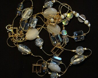 Gold, Bead, and Charm Necklace