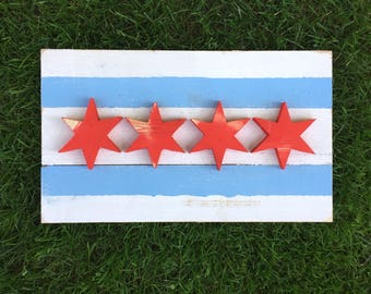 BIG Reclaimed Wood Chicago Flag | City of Chicago | Indoor or Outdoor | Wall Decor