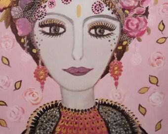 The Oriental-portrait female Eastern - acrylic on canvas - 22 x 27