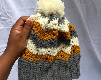 Crochet chevron slouchy beanie; charcoal, cream and gold, READY TO SHIP