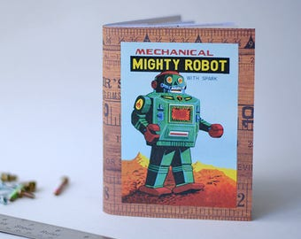 Travel Journal Vintage Robot Mixed Paper Art Sketchbook - SMALL