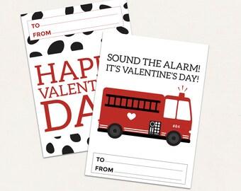 Firetruck Valentine Cards / Boy Valentines Card / DIGITAL / Fireman Valentines / Kids Valentine / Firetruck Valentines / Firetruck Vday Card