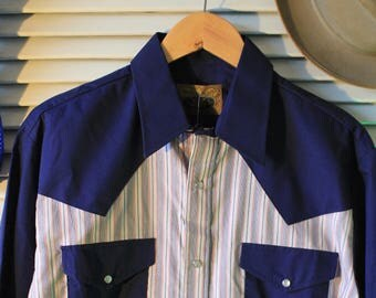 Classic Vintage 1970s New Breed Bue & White Stripe Pearl Button Western Shirt NWT