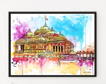 Akshardham Painting, India Illustration, BAPS Mandir, Housewarming Gift, Temple Art Print, Watercolor painting, Modern Wall art, Home Decor