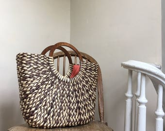 Brown & Tan Woven Straw Tote W/ Large Round Wooden Handles from The Limited
