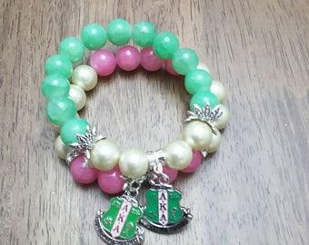 """Designer Inspired """"AKA"""" Sorority Bracelet Set"""
