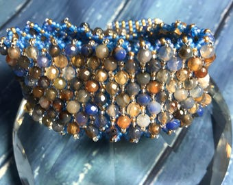 Luxury multi coloured agate beaded cuff bracelet: seed bead bracelet; blue agate bracelet; luxury gift for her; brown agate bracelet