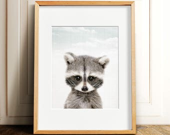Woodland Animals nursery PRINTABLE art,raccoon print,raccoon wall art,nursery wall art,nursery decor,printable decor,INSTANT DOWNLOAD