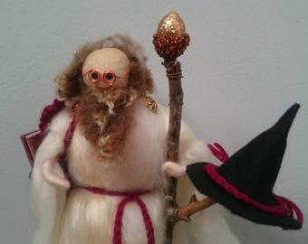 Professor Auberon. Wool Felt Wizard. Woodland Wizard. Wiccan Doll. Pagan Doll. Magic Wizard. Sorceror. Magician. Wool Felt Magician. Spells