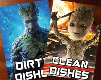 "Groot Guardians of the Galaxy  Reversible Magnetic Dishwasher Sign | Geek Kitchen | Clean Dirty Dishwashe | ""Clean"" ""Dirty"" Groot"