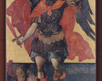 Archangel Michael, Elias Moskos,Cretan painter of Rethymno, 17 century,Byzantine Museum of Athens.FREE SHIPPING