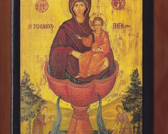 Virgin Mary,Panagia,The Mother of God of the Life-giving Spring.Christian orthodox icon.FREE SHIPPING.