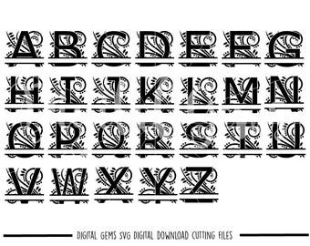 Regal split letter svg / dxf / eps / png files. The files work well with Silhouette and Cricut. Digital Download. Commercial use ok.